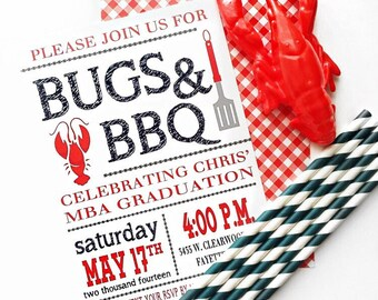BUGS AND BBQ Invitation | Crawfish Boil | Crawfish Boil Invite | Crawfish Graduation Party | Crawfish Couple's Shower | Crawfish Birthday