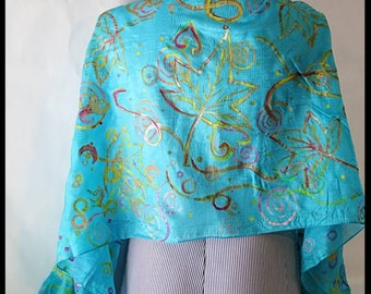 Hand Printed Silk-Hand Painted Silk Scarf-Leafs-Aqua Blue-Scarf-Shawl-Wrap-Original Design-Wearable Art-Limited Edition-Unique-Indian Silk