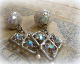 spades limited edition vintage assemblage earrings vintage pot metal spades set with vintage swarovski starlight rhinestones + 1940s sequins