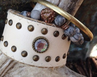Boho chic bracelet stack.