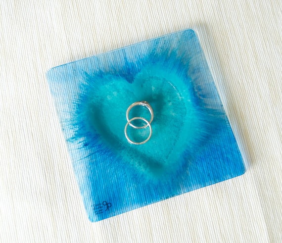 Heart Ring Dish - Glass - Hand painted - Love - Lovers - Ring holder - Jewelry holder - Trinket dish - Turquoise and blue