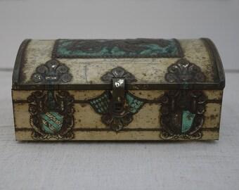 Vintage Treasure Chest Tin Box by De Beukelaer Belgium. Jewelry Trinket Box Embossed Gladiator Decor 1950 s