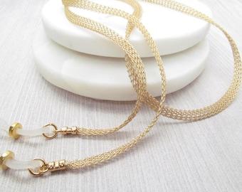 Gold Metal Mesh eyeglass chain; Reading Glasses Holder Necklace; Glasses Leash; Gold Glasses Chain; Glasses Lanyard; mesh glasses chain