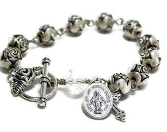Catholic Rosary Bracelet - Catholic Jewelry - Miraculous Medal Bracelet - St. Therese - Silver Catholic Bracelet - Religious Gift for her