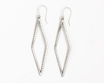 "Recycled sterling silver diamond shape beaded wire geometric dangle earrings, a minimalist yet eye-catching design - ""Rune Earrings"""