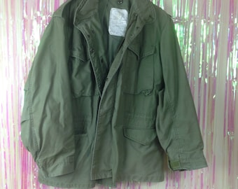 Vtg army military coat jacket mens size m heavy warm olive green solid zip front