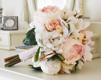 white peony bouquet light pink roses silk bouquet classic wedding bridal keepsake peony rose bouquet flower bouquet shabby chic