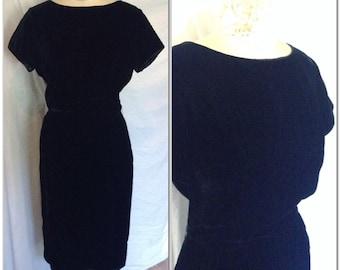 Sixties black velvet wiggle dress vintage, size small, medium, 4 6 8, little black dress, black dress, party dress, velvet dress