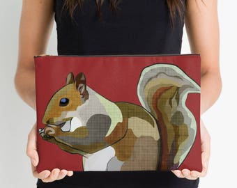 Red Squirrel Tablet Sleeve * Squirrel ipad Sleeve * Tablet Case Laptop Cover * Electronics Pouch * Red Kindle Sleeve * Nature Design Zipper