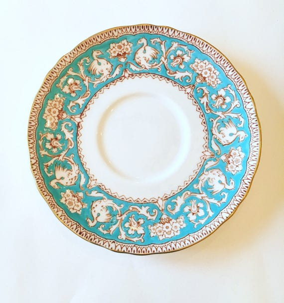 Fine Bone China Crown Staffordshire Ellesmere Blue and White Saucer - Vintage Mid Century China Saucer Plate