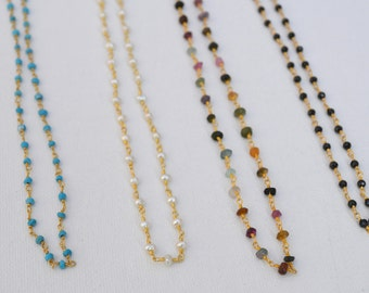 Gemstone Gold Rosary Chain Choker Necklace // Beaded Boho Turquoise Spinel Tourmaline Pearl Vermeil