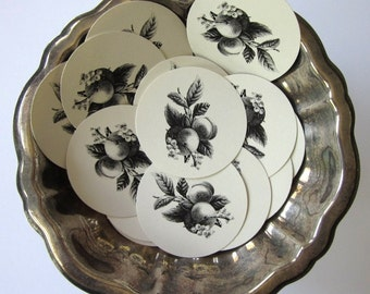 Peach Fruit Tags Round Paper Gift Tags Set of 10