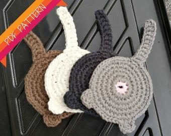 Crochet Cat Butt Coaster PDF PATTERN