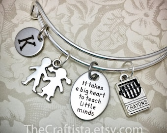 TB1, Personalized Teacher Adjustable Bangle, Teacher's Gift, Teacher Jewelry, Crayons Charm, Kids Charm, Teacher Gifts, Teacher Charm