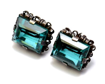 Vintage Mexico silver signed rectangular teal green glass cab screwback earrings