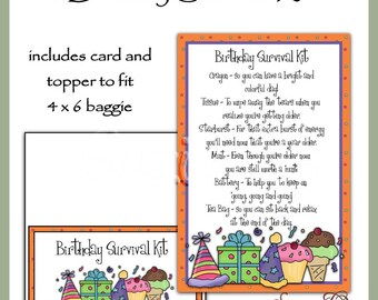 Birthday Survival Kit includes Topper and Card - Digital Printable - Immediate Download