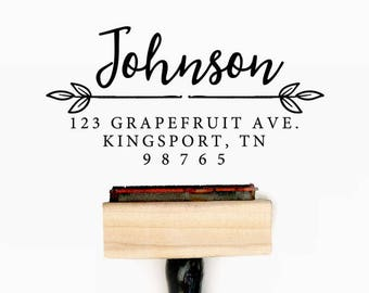 Custom Personalized Return Address Pre-Designed Rubber Stamp - Branding, Packaging, Invitations, Party, Wedding Favors - A016