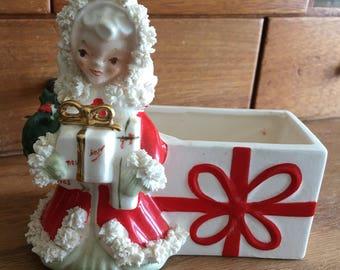 NAPCO Christmas Girl with Gift Planter citca 1950s