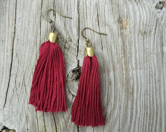 Tassel Earrings Tassle Jewelry Burgundy Teal Orange Gray Pink Fringe Earrings Boho Jewelry DyNamo Handmade Jewelry