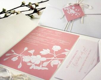 Cherry Blossom Wedding Invitation, Spring Wedding Invitations, Pocketfold, Tag Twine, Floral Pink, Vintage, Rustic, Tree Branch Invitation
