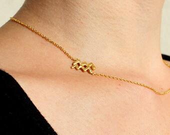 Sideways Aquarius Necklace - Silver Aquarius Necklace - Sideways Zodiac Necklace - Gold Aquarius Necklace Gift