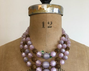 1950s 1960s Purple Lavender Glitter Moonglow 3 Strand Filigree Bead Necklace 50s 60s