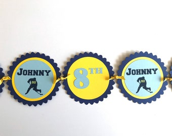 Hockey Birthday Banner - Custom and Personalized with Your Name, Age and Colors
