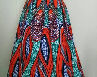 Ankara Box Pleated Midi Skirt
