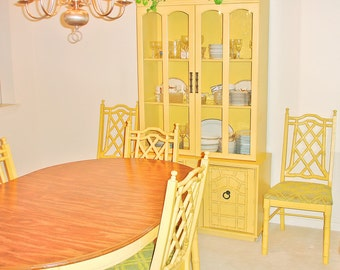 Vintage 1970s Yellow Bamboo Wood Dining Table and Six Chairs and China Cabinet Hutch Buffet