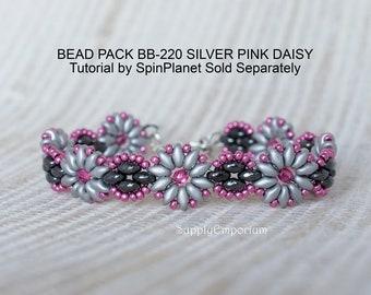Silver Pink Daisies Beadweaving Bracelet Bead Pack BB220, Tutorial By SpinPlanet Sold Separately, Bead Pack BB-220 Silver Pink Daisies