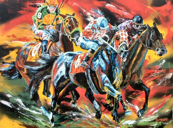 Horse Racing limited edition print giclee' signed