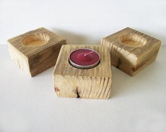 Ensemble supports bougie chauffe-plat de 3 mariage rustique bois récupéré Decor Table décoration photophore