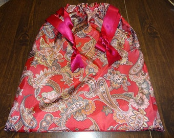 Gift  Fabric Gift BAG LINGERIE Pajama's Nightgown bag Paisley PLUM