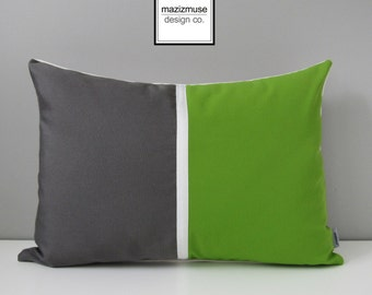 Lime Green & Grey Pillow Cover, Modern Outdoor Pillow Cover, Decorative Color Block Pillow Case, Gray Sunbrella Throw Pillow Cushion Cover