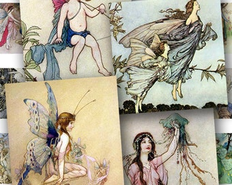 Fairies and Water Nymphs in .85 inch squares for scrabble tiles, glass marbles and more -- piddix digital collage sheet no. 405