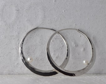 silver hoop earrings with white pearl