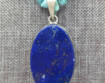 Turquoise Necklace with Lapis Pendant