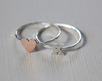heart ring, initial ring, ring set, midi ring, dainty ring - rose gold heart ring and  sterling silver initial ring set