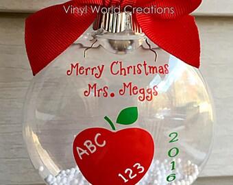 Christmas Ornament for Teacher, Christmas present for teacher, teacher's christmas gift, holiday gift for teacher, teacher's christmas gift