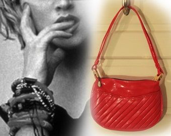 Late 20th Century Candy Apple Red Vinyl Purse with Gold Tone Hardware