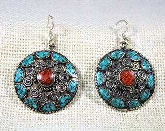 Tibetan silver earrings, turquoise earrings, dangle earrings, coral earrings, drop earrings