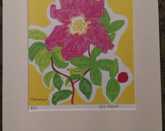 Camelia flower lithograph signed and numbered. 1/25. I will also matte it as it is a bit off center.  Measurements are shown in photos.