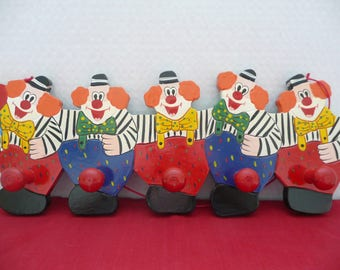 Clown Peg Rack, Clown Clothes Hooks, Nursery Decor, Toddler Room Decor, Kids Room Wallhanging, Possibly Made by Sevi in Italy
