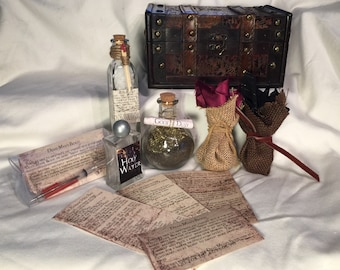 Exclusive Supernatural Sam and Dean Hunting Kit - Rock Salt, Goofer Dust, Wooden Box, Holy Water, Hex Bags, Dead Man's Blood pen