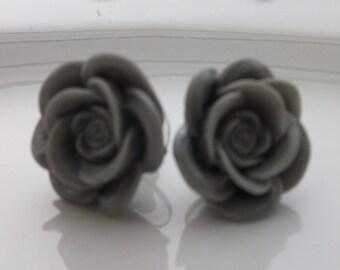 Large Grey Rose Earrings