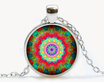 Mandala Glass pendant. Mandala necklace. Mandala  jewelry, birthday gift
