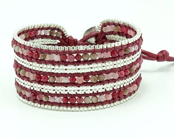 Jasper,cherry quartz,silver plated box chain wrap bracelet.