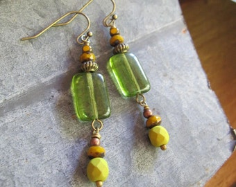 Meadow Green Bohemian Earrings, Art Deco, Long Earrings, Rustic Dangle Drop Earrings, Summer Earrings, Blueartichokedesigns