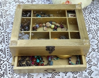 """Gold """"Shabby Chic"""" Wooden Jewelry Box"""