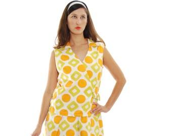 1950 Vintage Dress.50's Dress.Women's Dresses.Olive&Orange Geometric Vintage Dress For Women 1950's.Size M